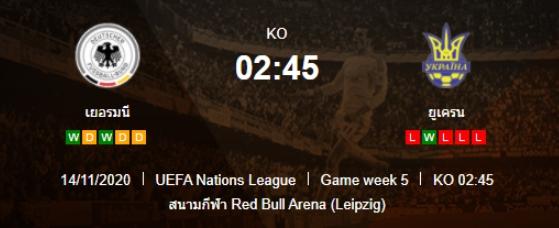 วิเคราะห์บอล ยูฟ่า เนชั่นส์ลีก เยอรมนี VS ยูเครน 14/11/2020